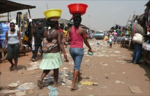 A street in Roque Santeiro market, Luanda, Angola