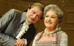 Peter Bowles and Penelope Keith (as Mrs Malaprop)in a production of Sheridan's The Rivals